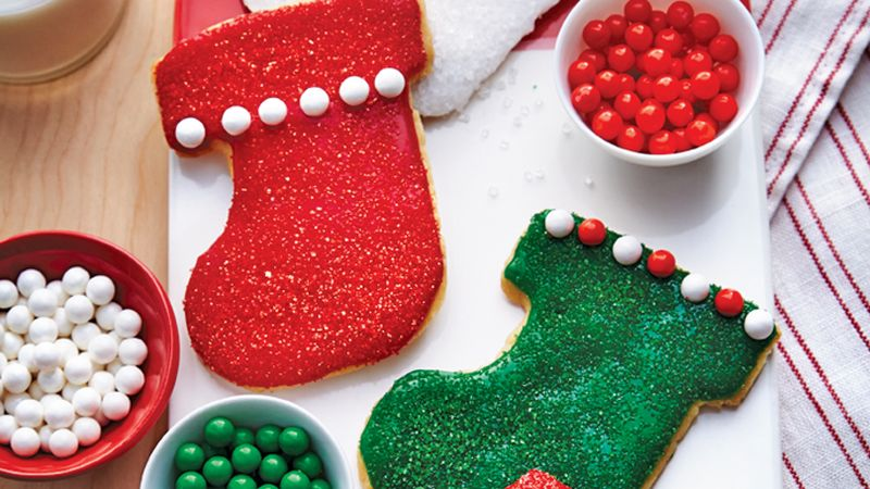 christmas stocking cookies - Decorating Cookies With Sprinkles For Christmas
