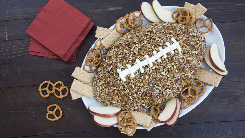 Turtle Brownie Football Cheese Ball