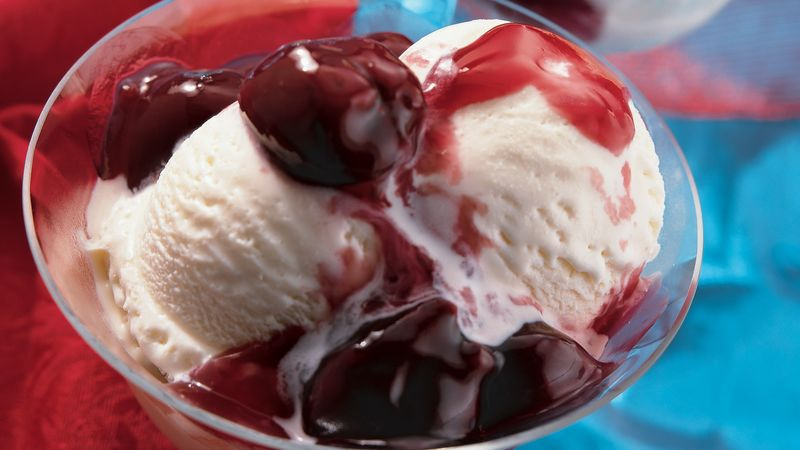 Brandied Cherry Sauce Over Ice Cream