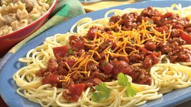 Three Alarm Spaghetti And Pinto Bean Chili Recipe Bettycrocker Com