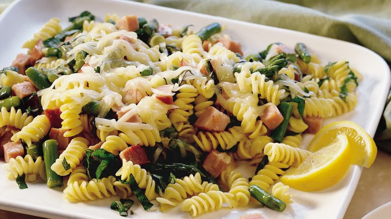 Lemon-Basil Pasta with Ham
