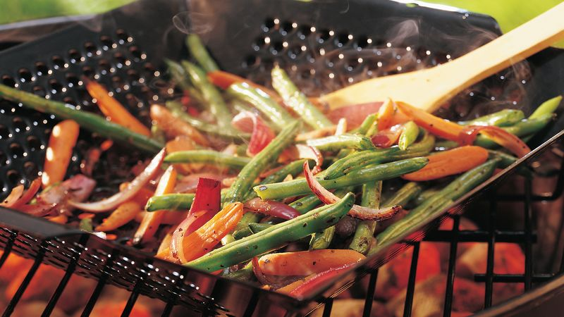 Grilled Baby Carrots And Green Beans Recipe Bettycrocker Com