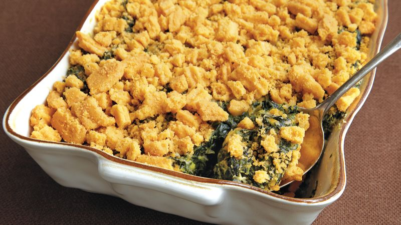 Cheese Straw-Spinach Casserole
