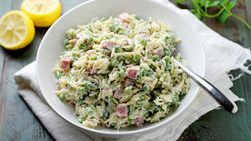 Creamy Lemon Orzo with Peas and Ham