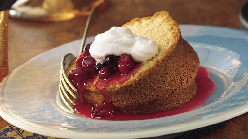 Almond Pound Cake with Cherry-Berry Sauce