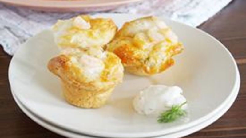 Shrimp Puffs with Creamy Lemon-Dill Dip