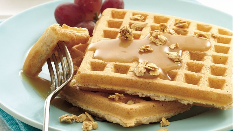 Whole Wheat Waffles with Honey-Peanut Butter Drizzle