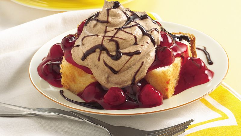 Chocolate Cream Angel Slices with Cherry-Berry Sauce