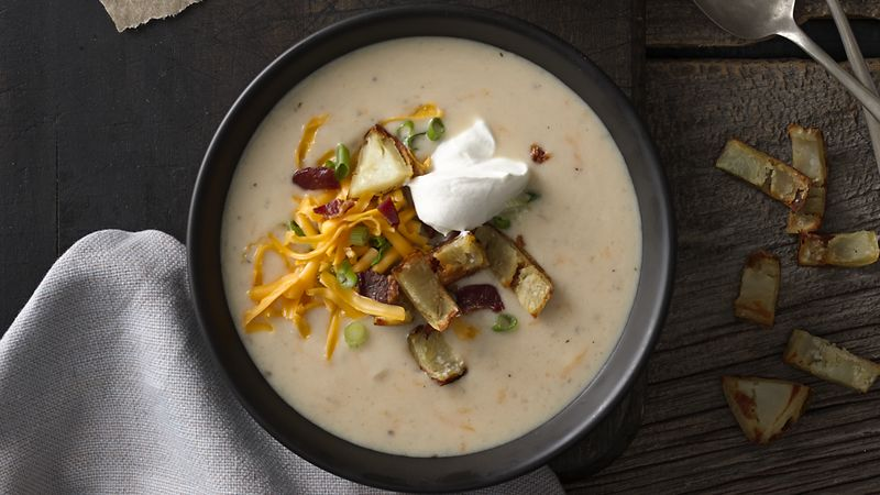 Baked Potato Soup with Crispy Potato Skins