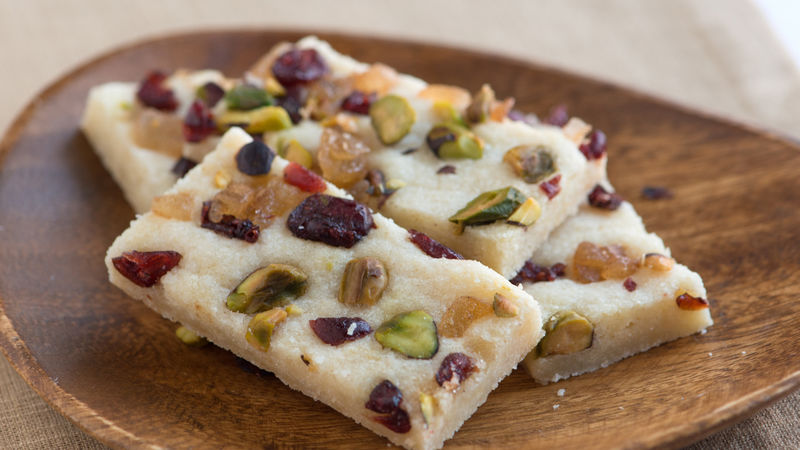 Pistachio, Cranberry and Ginger Cookie Bars