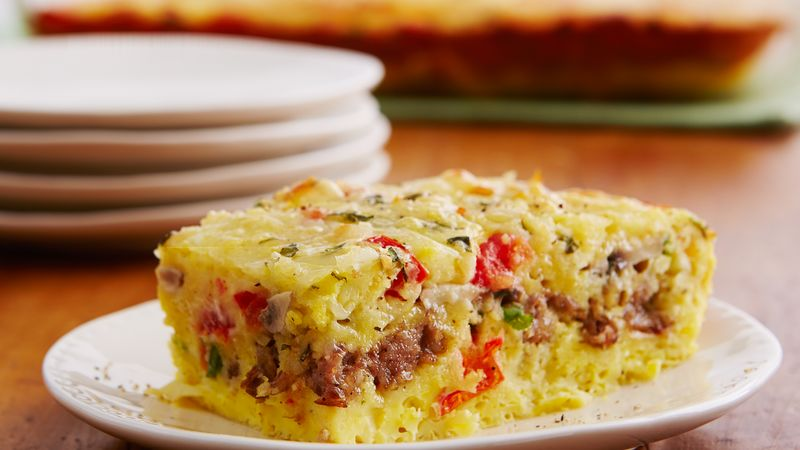 cheesy sausage and egg bake - Strata Egg Dish