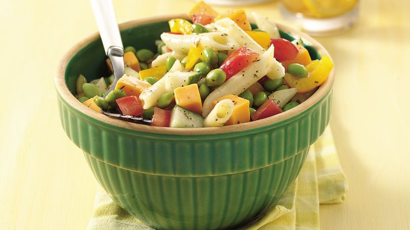 Hearty Soybean and Cheddar Pasta Salad