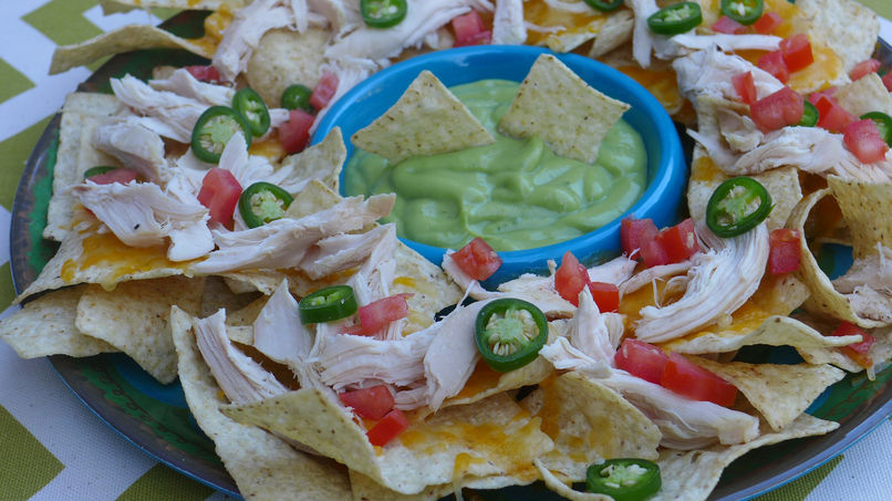 Roast Chicken Nachos with Avocado Crema