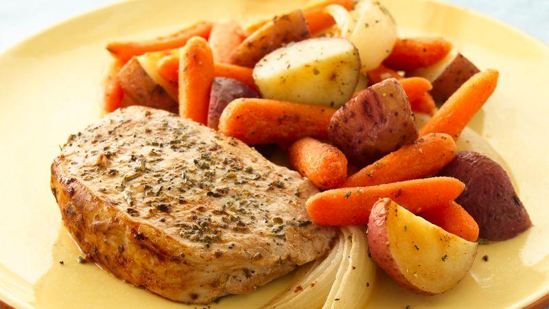 herb roasted pork chops and vegetables recipe bettycrocker com