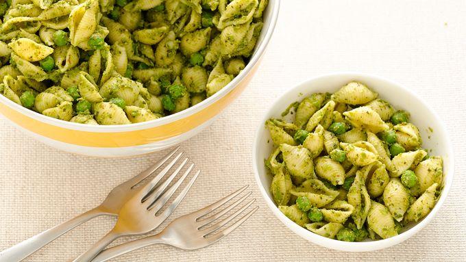 Pesto Shells and Peas Pasta