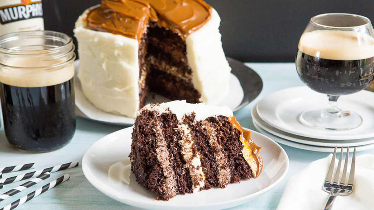 Chocolate Stout Cake with Caramel Marshmallow Cream Frosting