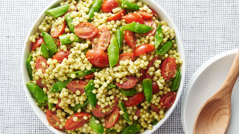 Pesto Pearl Couscous Salad Recipe Tablespoon Com