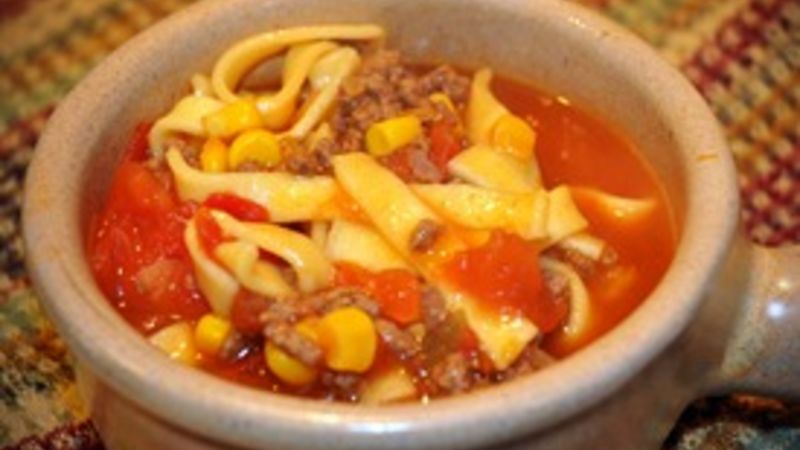 Vegetable Beef Noodle Soup with a Kick