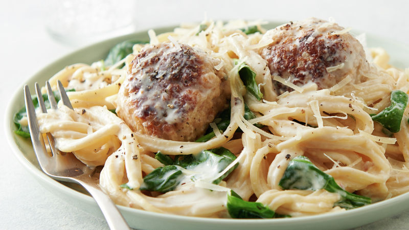 Instant Pot® Spaghetti and Meatballs Florentine