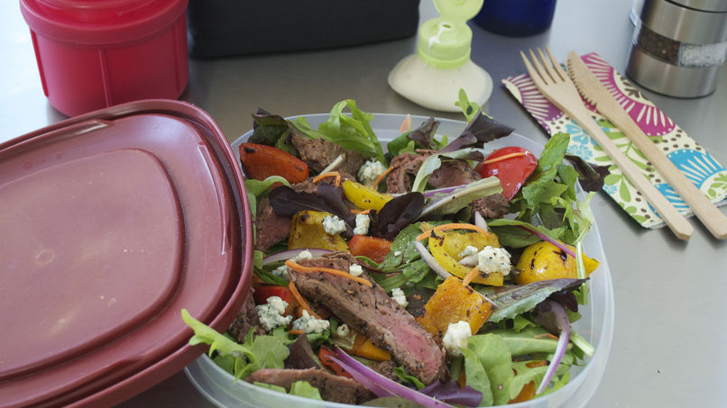 Salad with Greens, Meat and Yogurt Dressing