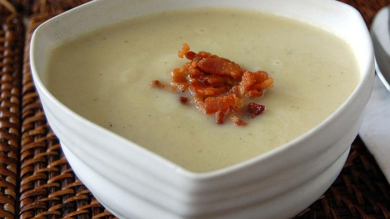 Cauliflower and Leek Soup with Crispy Bacon