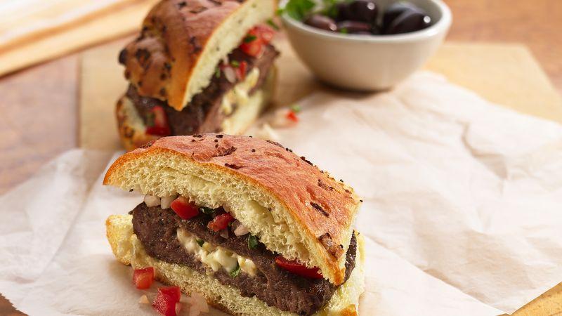 Mediterranean Stuffed Burgers