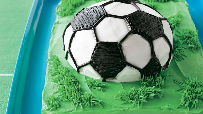 Magnificent Soccer Ball Cake Recipe Bettycrocker Com Personalised Birthday Cards Veneteletsinfo