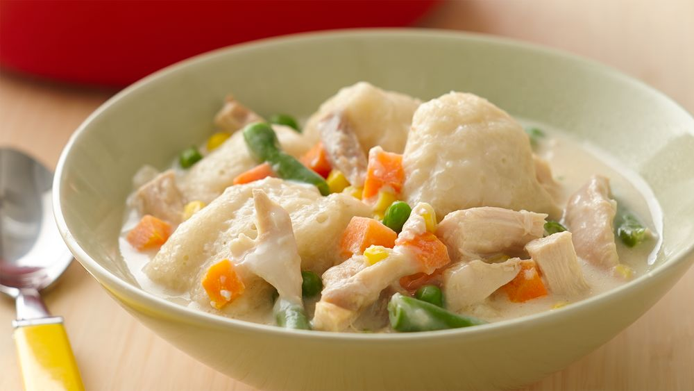 One-Pot Cheesy Chicken and Mini Dumplings