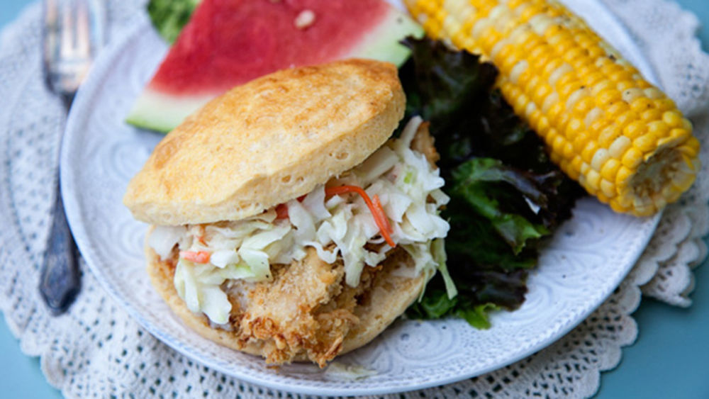 Fried Chicken Sandwich with Pineapple Slaw