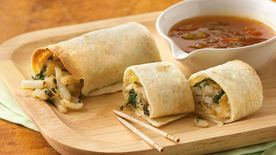 Samosa Taquitos with Apricot Chutney Sauce