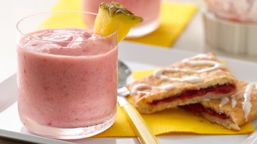 Pineapple Raspberry Smoothies with Pastries