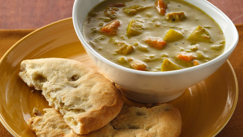 Curried Soup with Cheese-Filled Naan