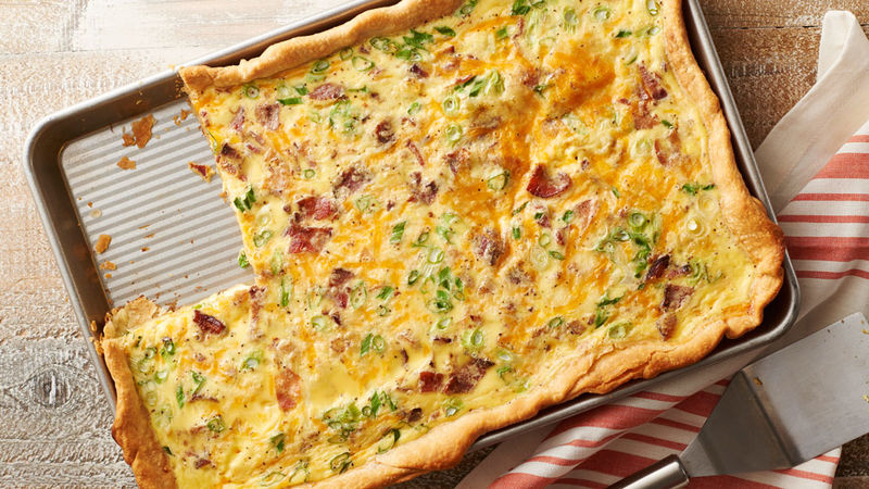 Bacon-Cheddar Slab Quiche