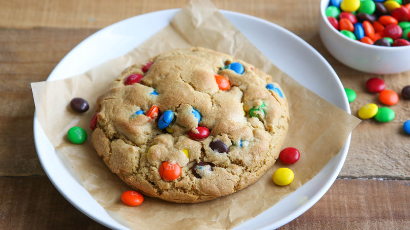Giant Peanut Butter And M M S Cookie For Two Recipe Bettycrocker Com