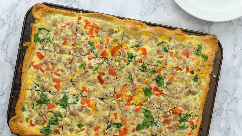 Sausage and Bell Pepper Slab Quiche