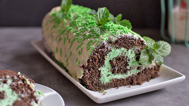 Chocolate Mint Roll Cake