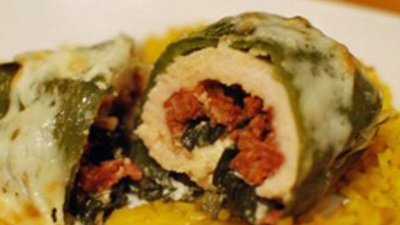 Chorizo and Kale Stuffed Chicken Peppers