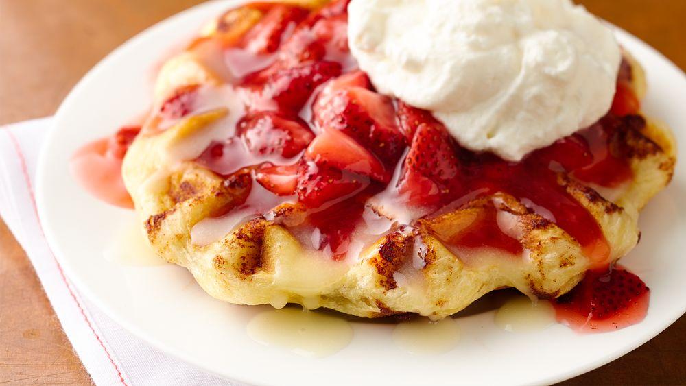 Strawberry-Cinnamon Roll Belgian Waffles