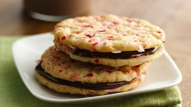 Peppermint Sandwich Cookies with Orange-Chocolate Filling