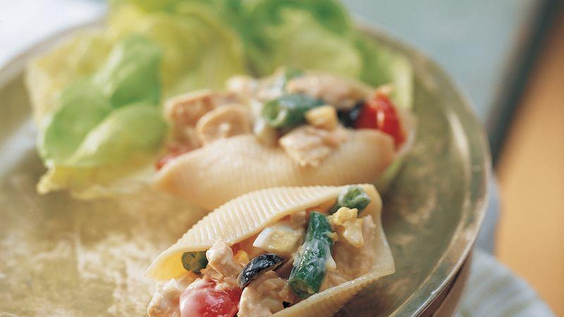 Caesar Tuna Salad in Pasta Shells