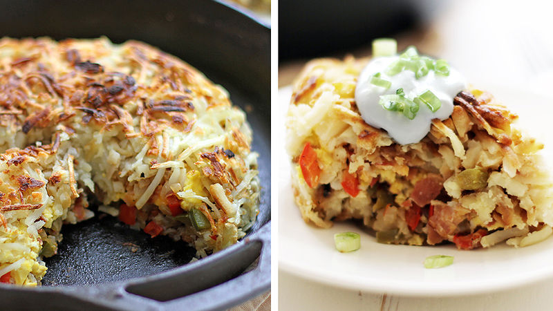 Bacon and Cheese Hashbrown Breakfast Pie