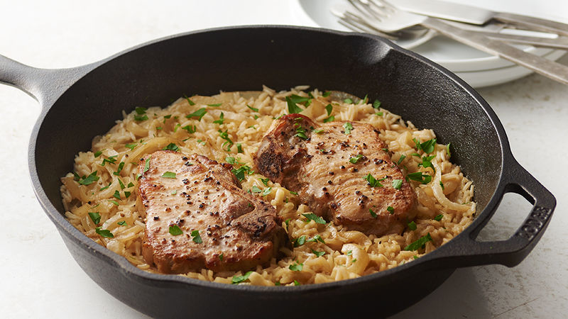 Skillet Pork Chops and Rice for Two