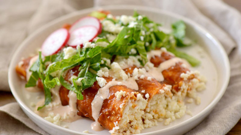 Red Enchiladas with Queso Fresco
