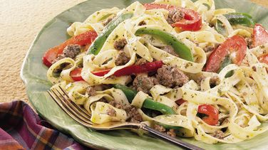 Fettuccine with Beef and Peppers