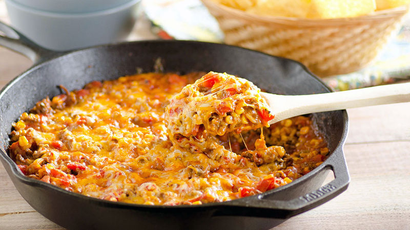 Cheesy Nacho Beef Skillet Recipe Pillsbury Com