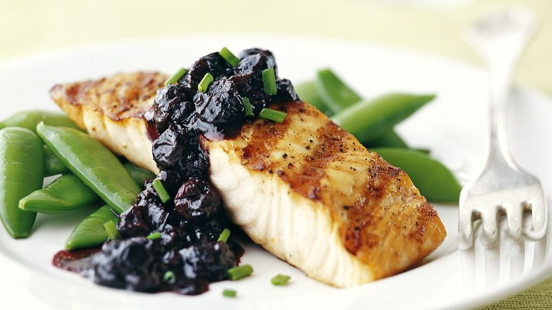 Skinny Grilled Salmon and Blueberry-Balsamic Sauce