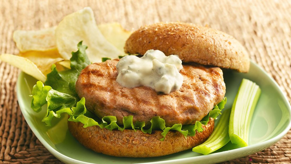 Buffalo-Blue Cheese Grilled Chicken Burgers