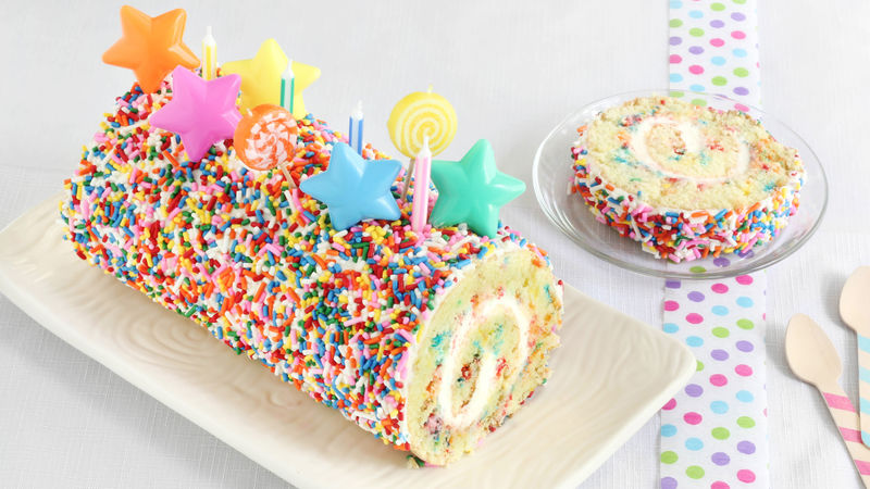 Miraculous Confetti Cake Roll Recipe Bettycrocker Com Personalised Birthday Cards Arneslily Jamesorg