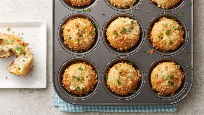 Muffin-Tin Chicken Alfredo Biscuit Bombs