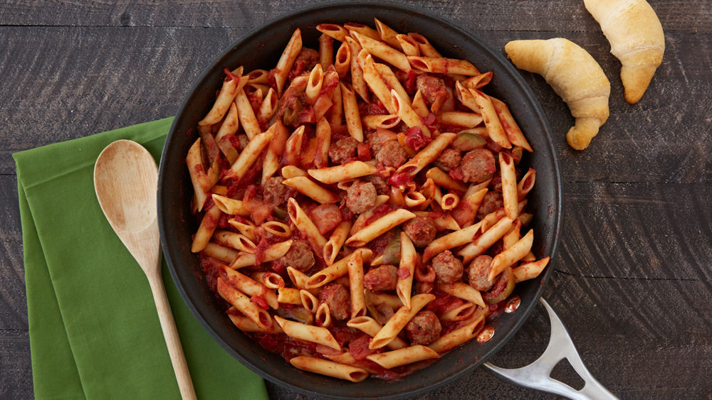 Sausage, Onion, Peppers and Pasta Skillet